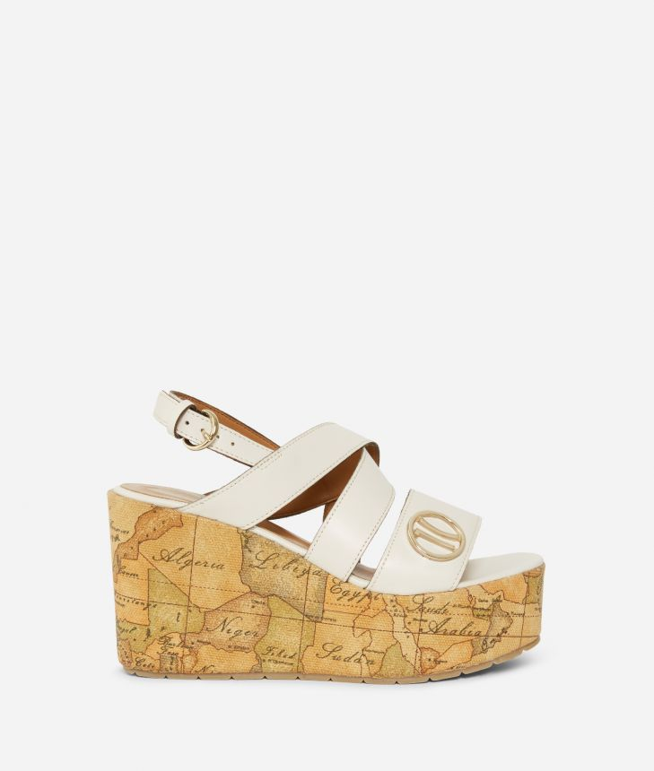 Wedge sandals in smooth leather White,front