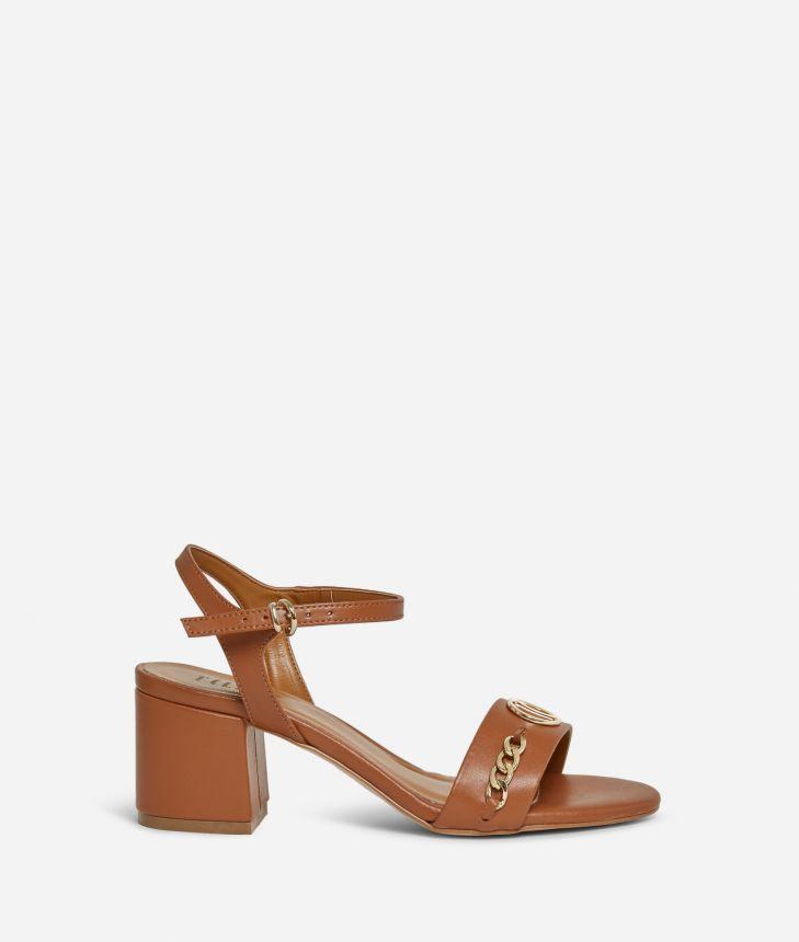 Sandali tacco alto in pelle liscia Marroni,front