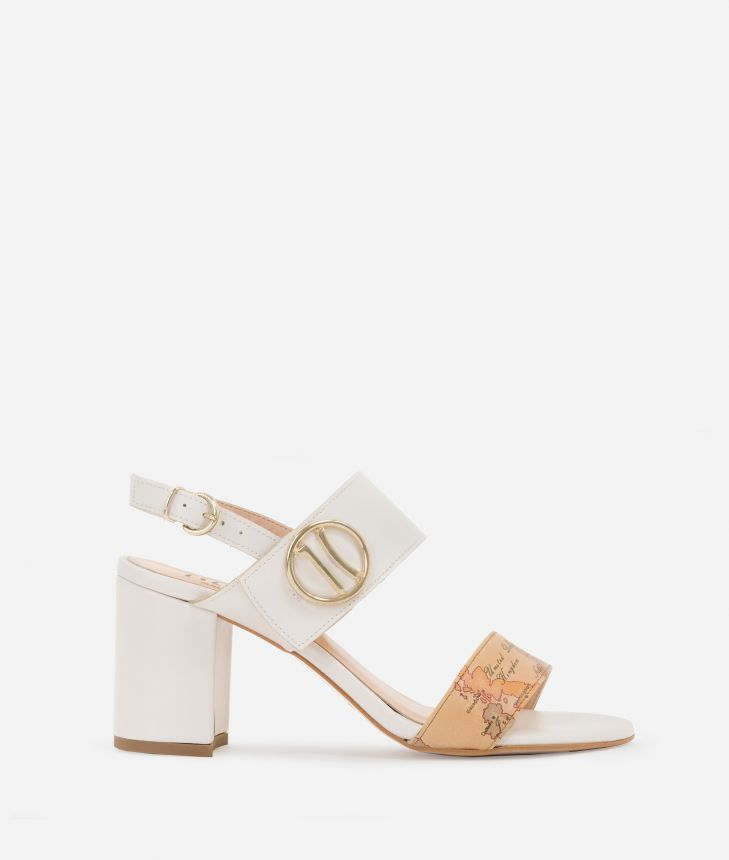 High-heel sandals with maxi logo 1C White,front