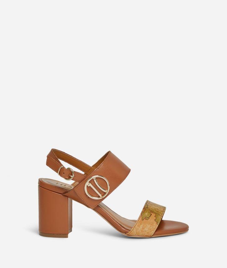 Sandali tacco alto e maxi logo 1C in pelle Marroni,front