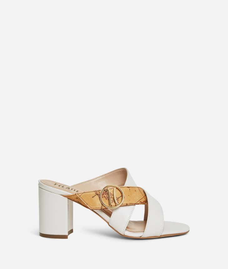 High-heel sliders with maxi logo 1C White,front