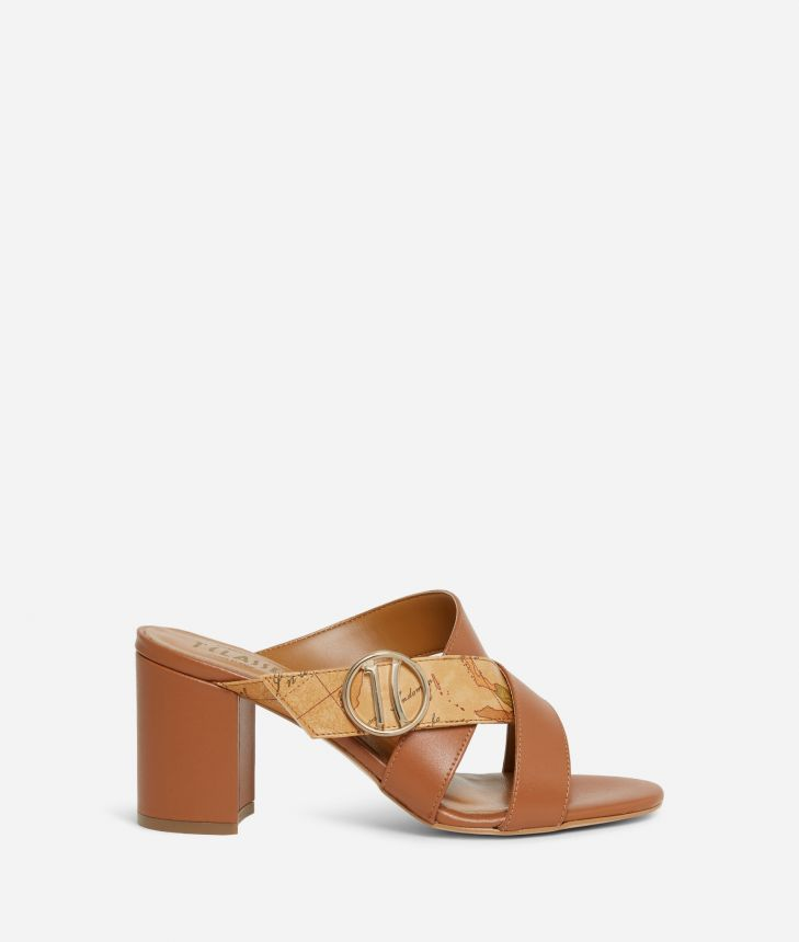 High-heel sliders with maxi logo 1C Brown,front