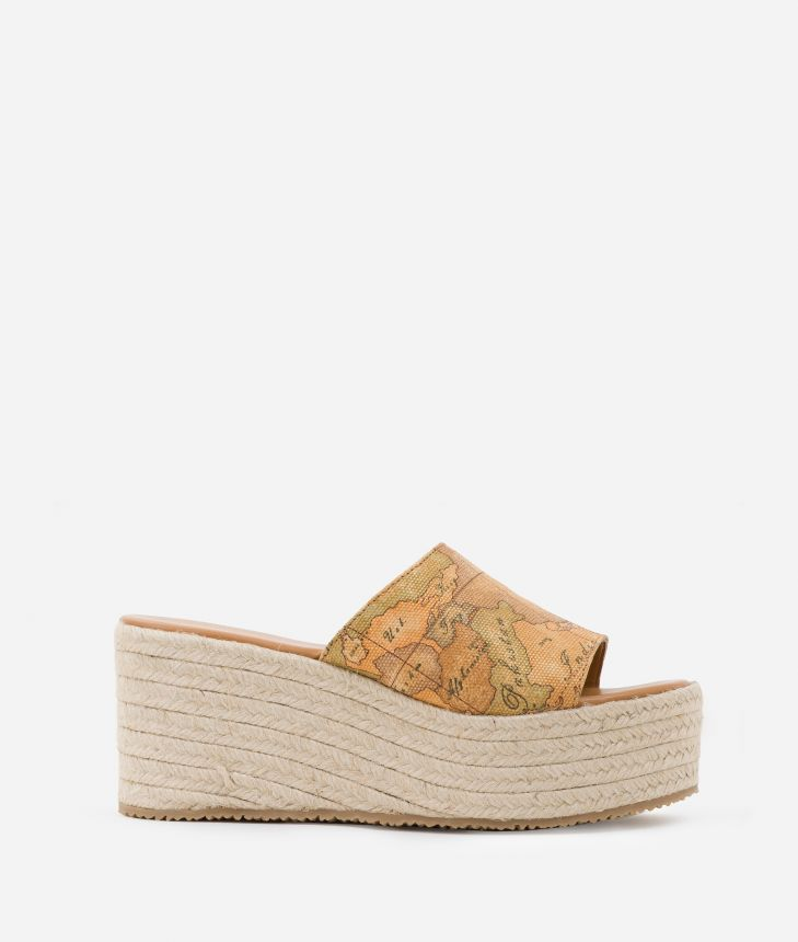 Sabot with wedge in Geo Classic print canvas,front