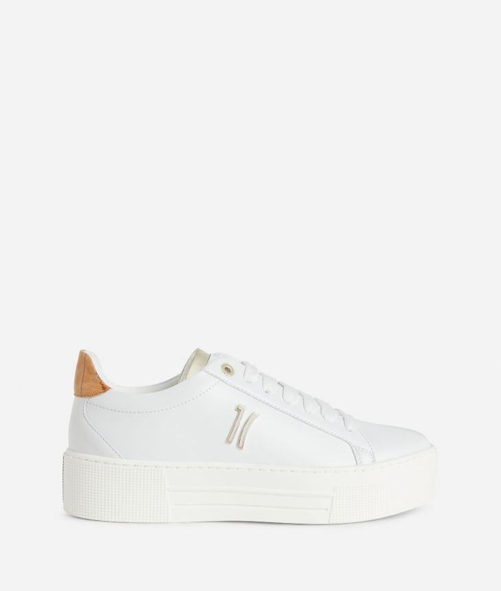 Sneakers 1C in eco-leather White,front
