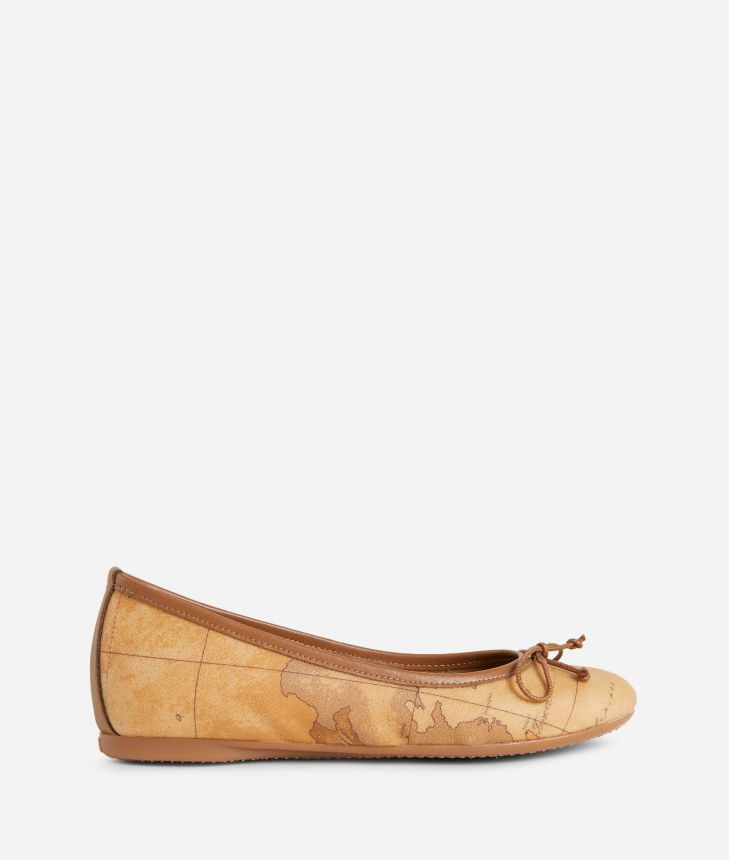 Ballet flats in Geo Classic print fabric,front