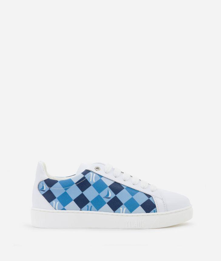Sneakers 1C Sails in saffiano checkerboard print fabric Blue,front