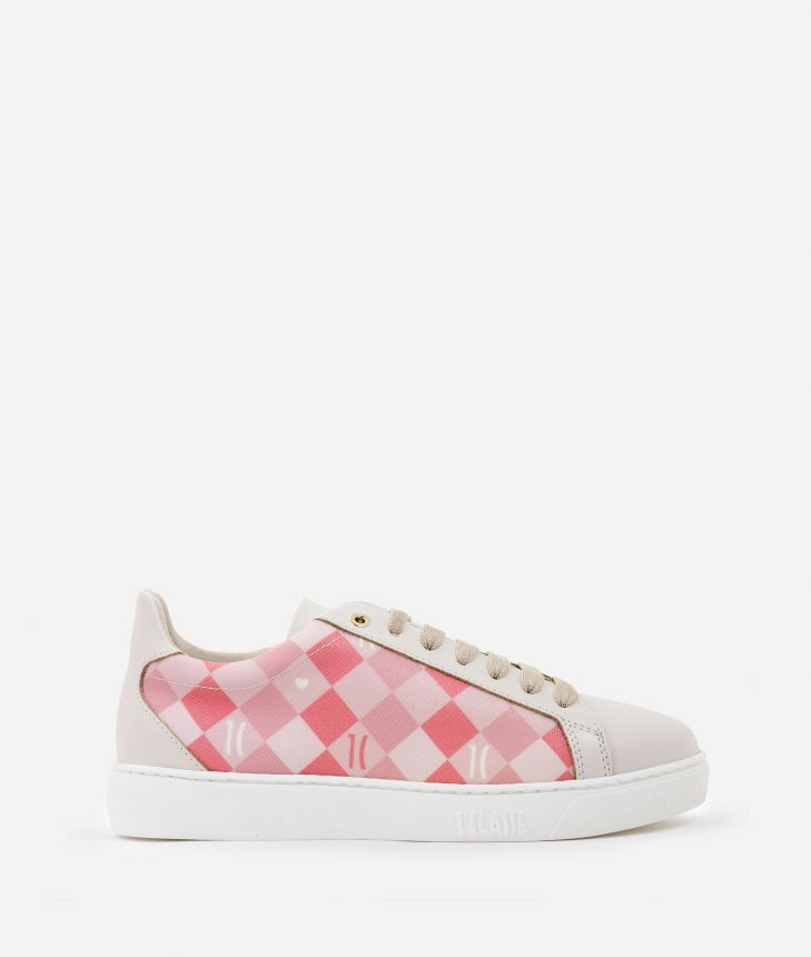 Sneakers 1C Hearts in saffiano checkerboard print fabric Pink,front