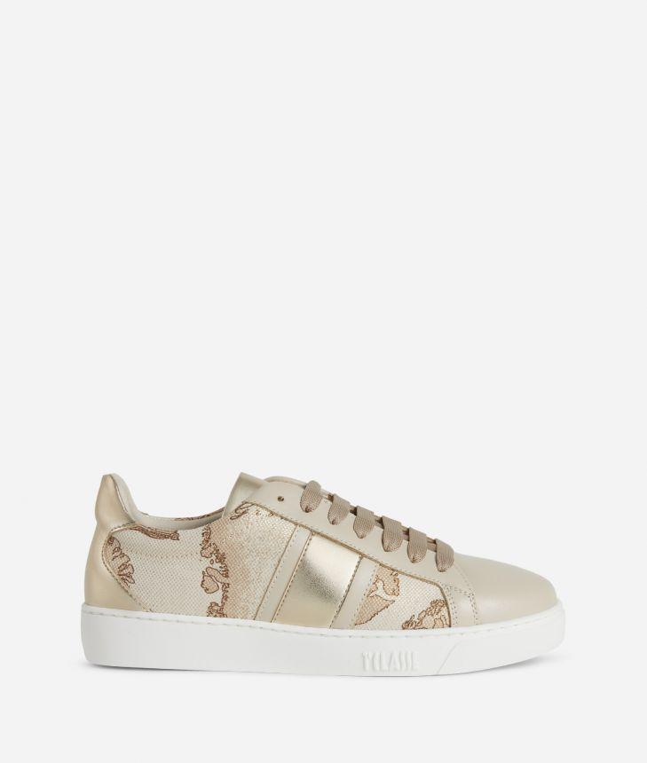 Sneakers in laminated Geo Safari fabric,front