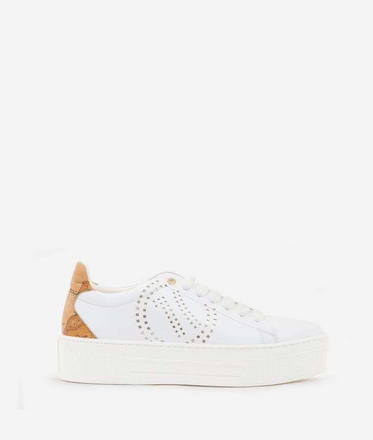 Sneakers with 1C logo  in eco-leather White,front