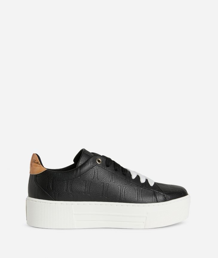 Sneakers in leather with 1C impression Black,front