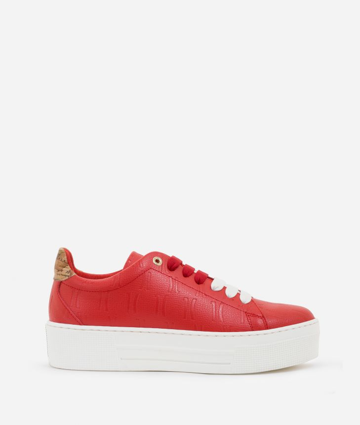 Sneakers in leather with 1C impression Red,front