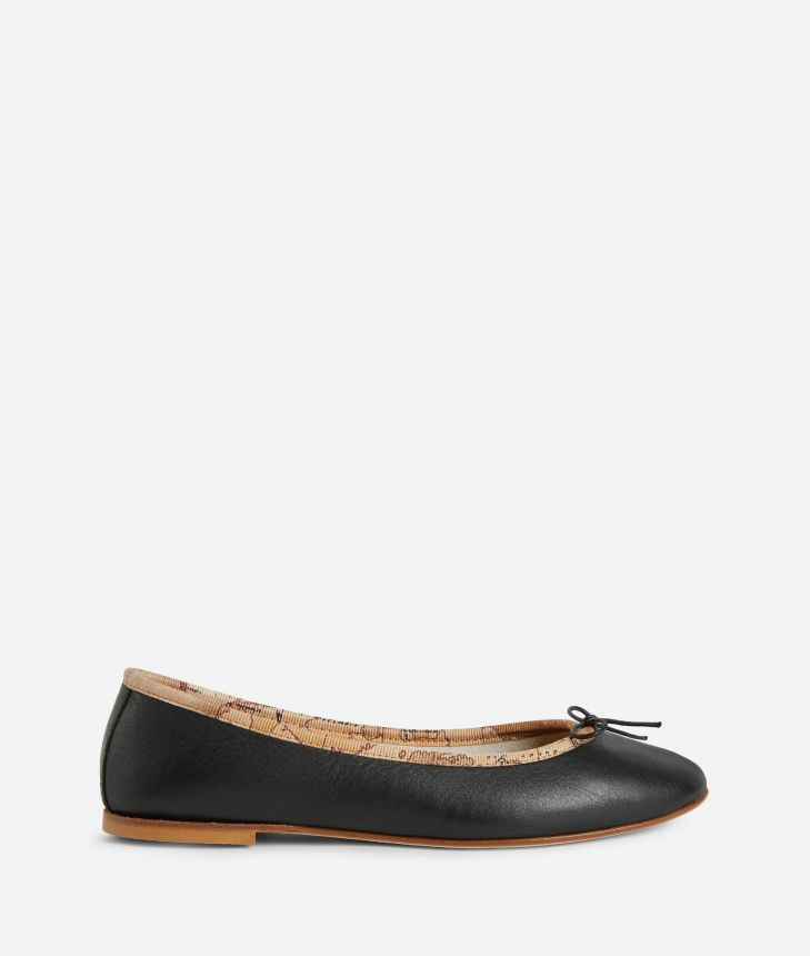 Ballets flats in smooth leather Nere,front