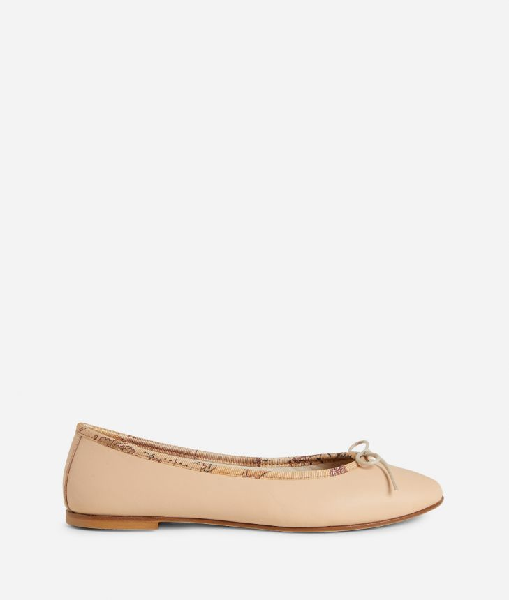 Ballets flats in leather Nude,front