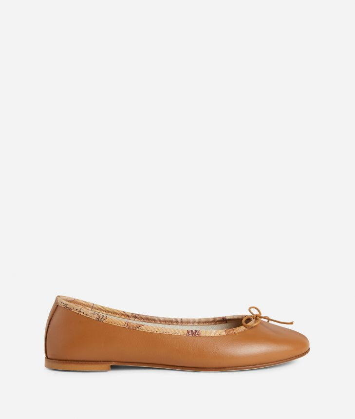 Ballets flats in leather Brown,front