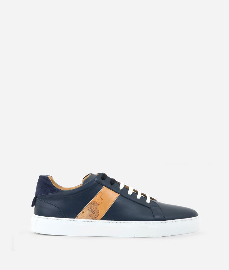 Man Sneakers in smooth leather Blu,front