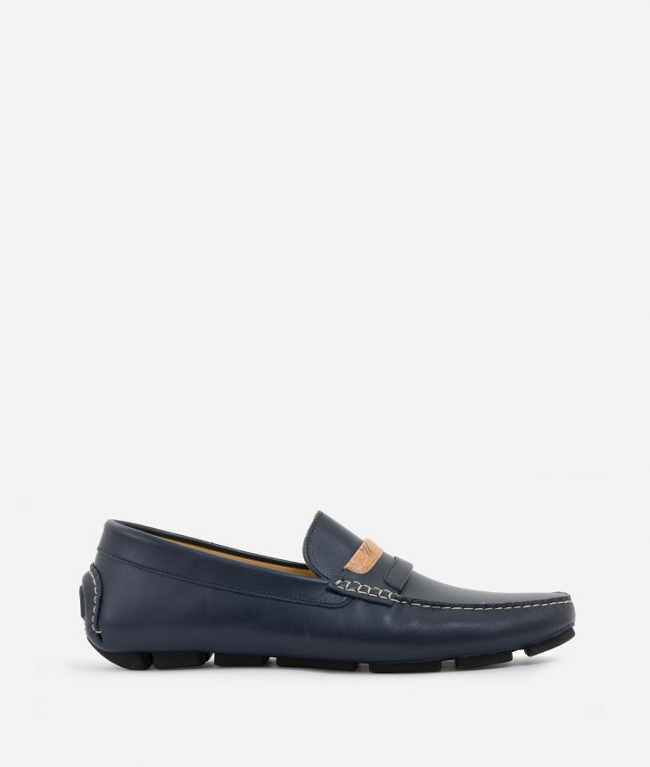 Man Moccasins in smooth leather Blu,front
