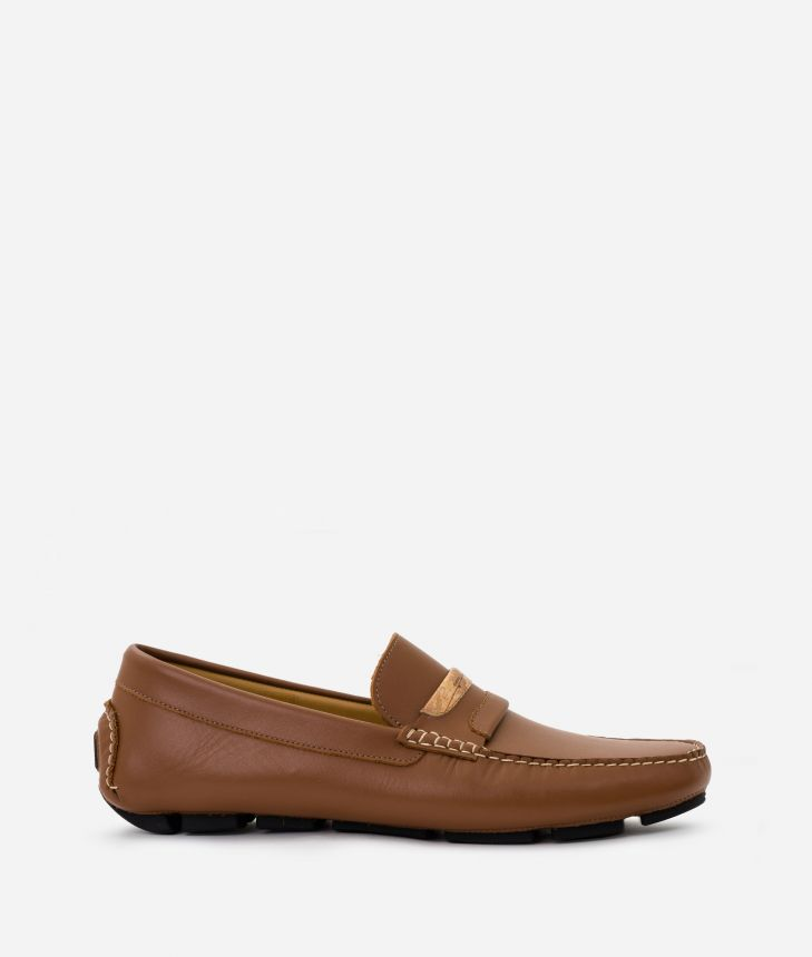 Man Moccasins in smooth leather Marroni,front