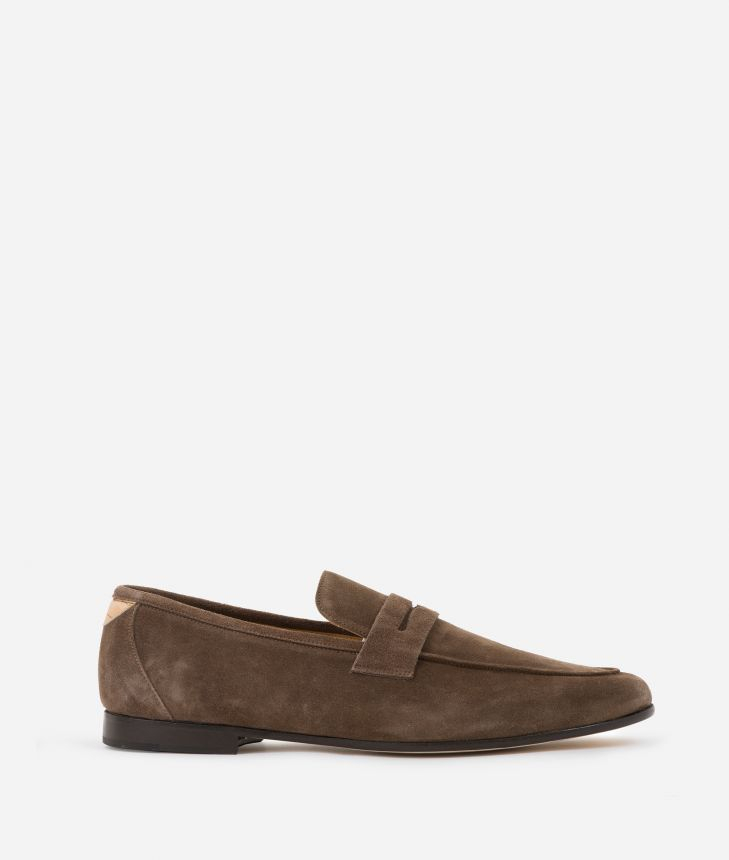 Man Moccasins in suede leather Marroni,front