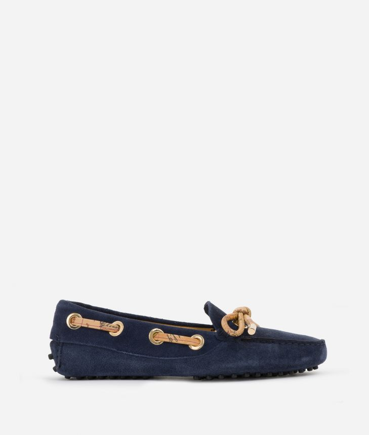 Moccassins in suede leather Blu,front