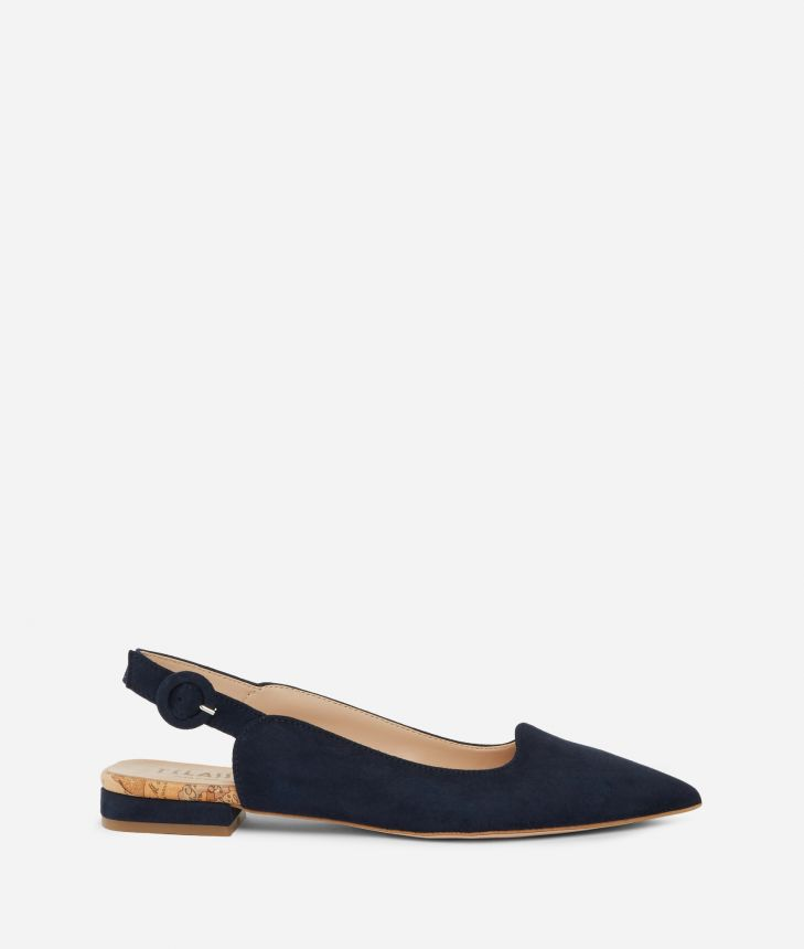 Exclusive Online Slingback in suede leather Blue,front