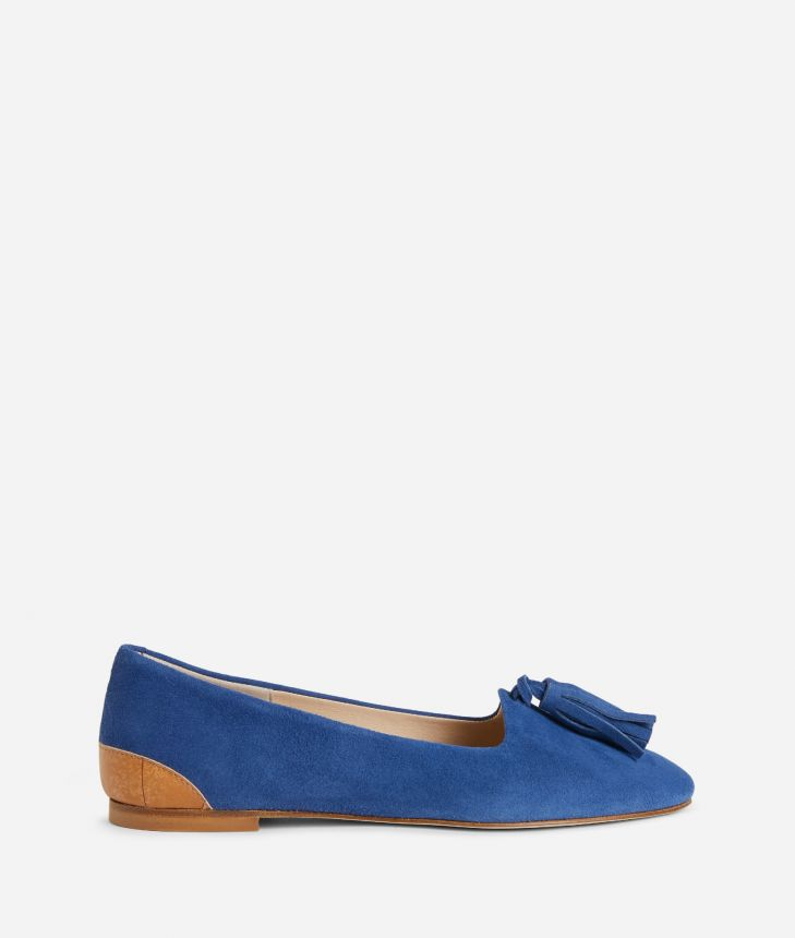 Online Exclusive Mocassins in suede leather Blue,front