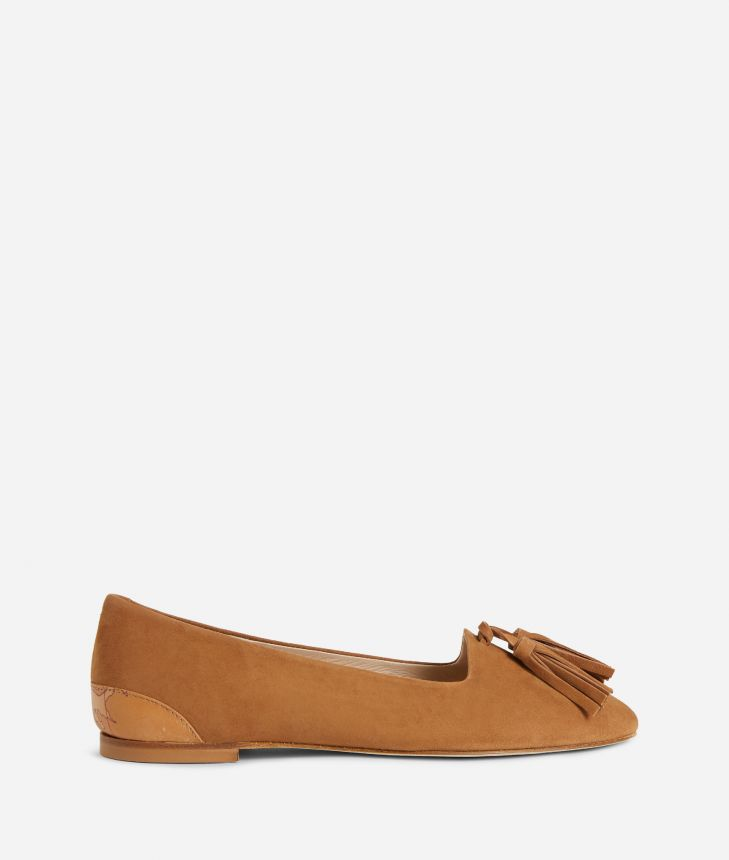 Online Exclusive Mocassins in suede leather Brown,front