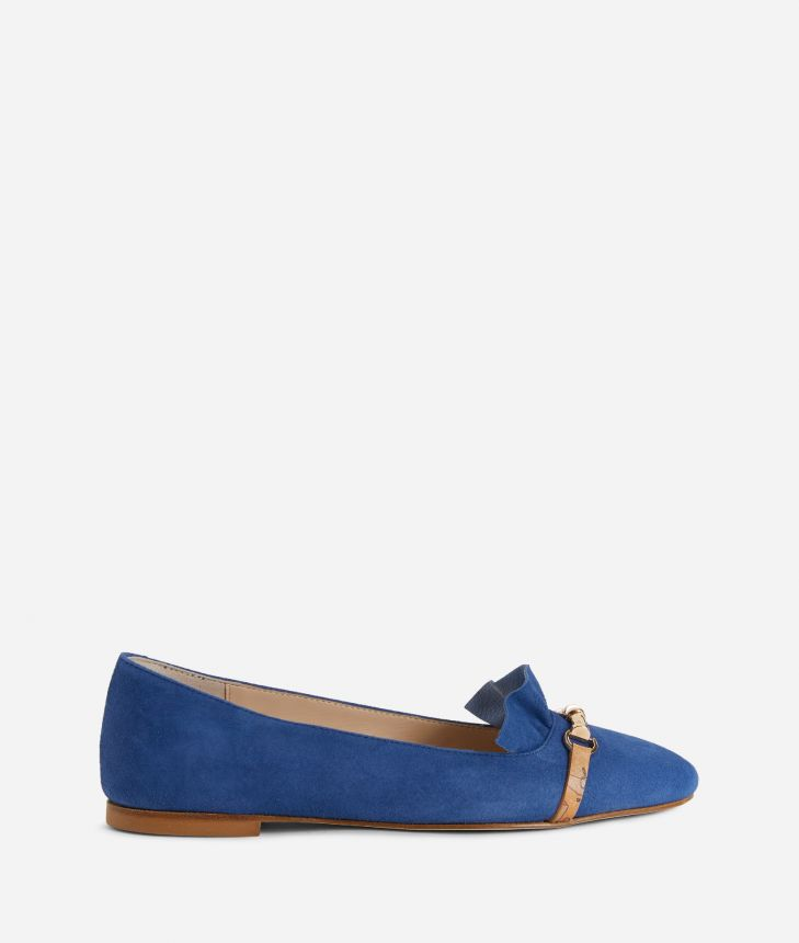 Online Exclusive Ballet flats with horsebit in suede leather Blue,front