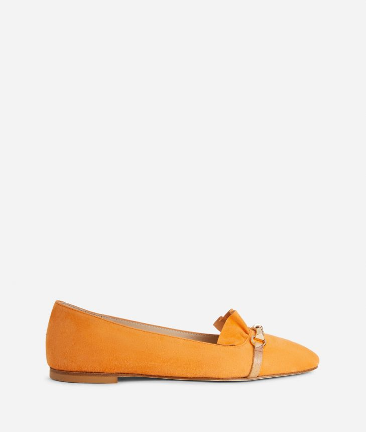 Online Exclusive Ballet flats with horsebit in suede leather Orange,front