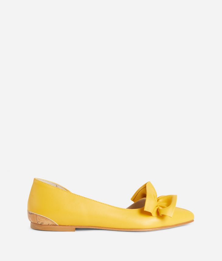 Online Exclusive Ballets flats in smooth leather Yellow,front