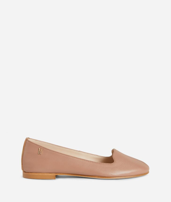 Online Exclusive Slippers in smooth leather Nude,front