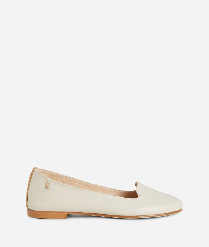 Online Exclusive Slippers in smooth leather White,front