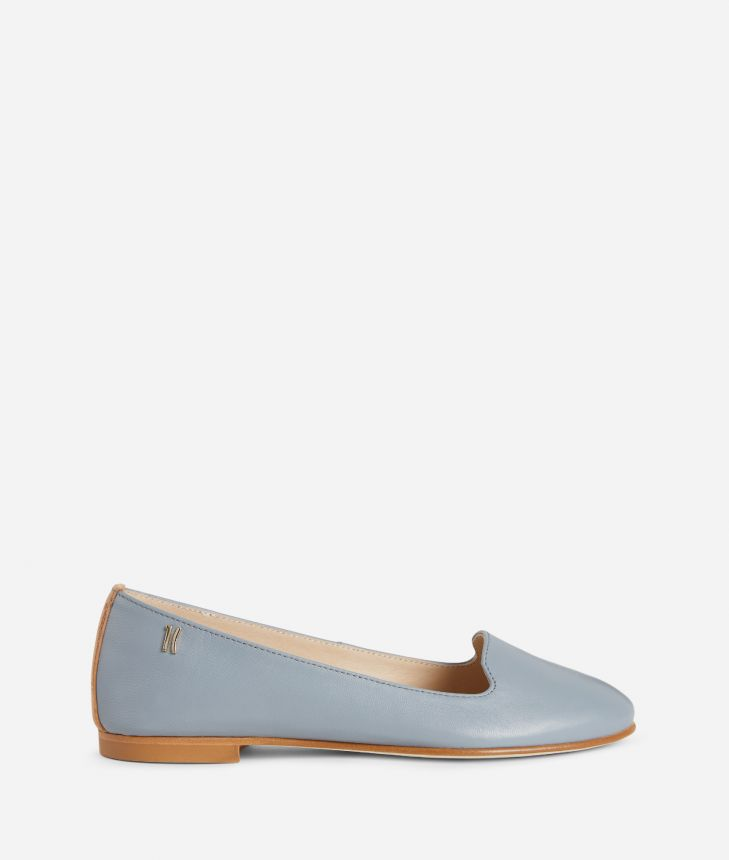 Online Exclusive Slippers in smooth leather Blue,front
