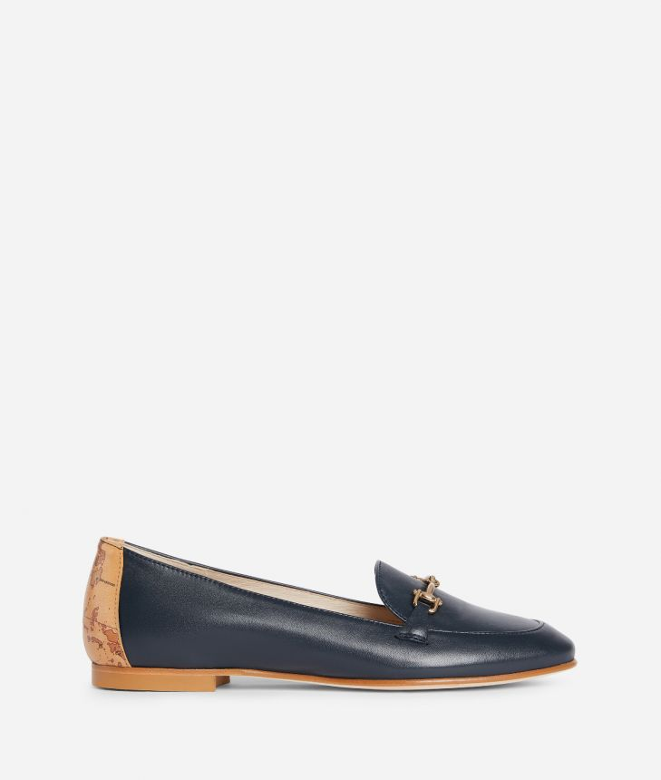Exclusive Online Moccassin with horsebit in smooth leather Blue,front