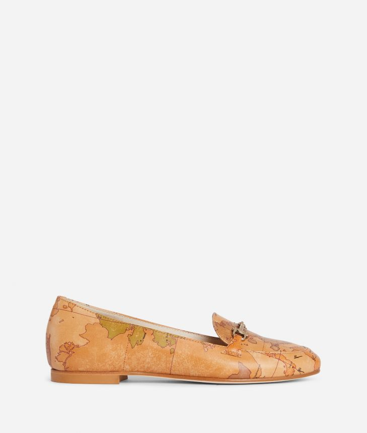 Exclusive Online Moccassin with horsebit in Geo Classic print nappa,front