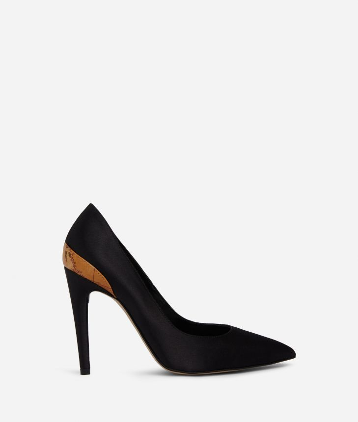 Pumps in raso Nere,front