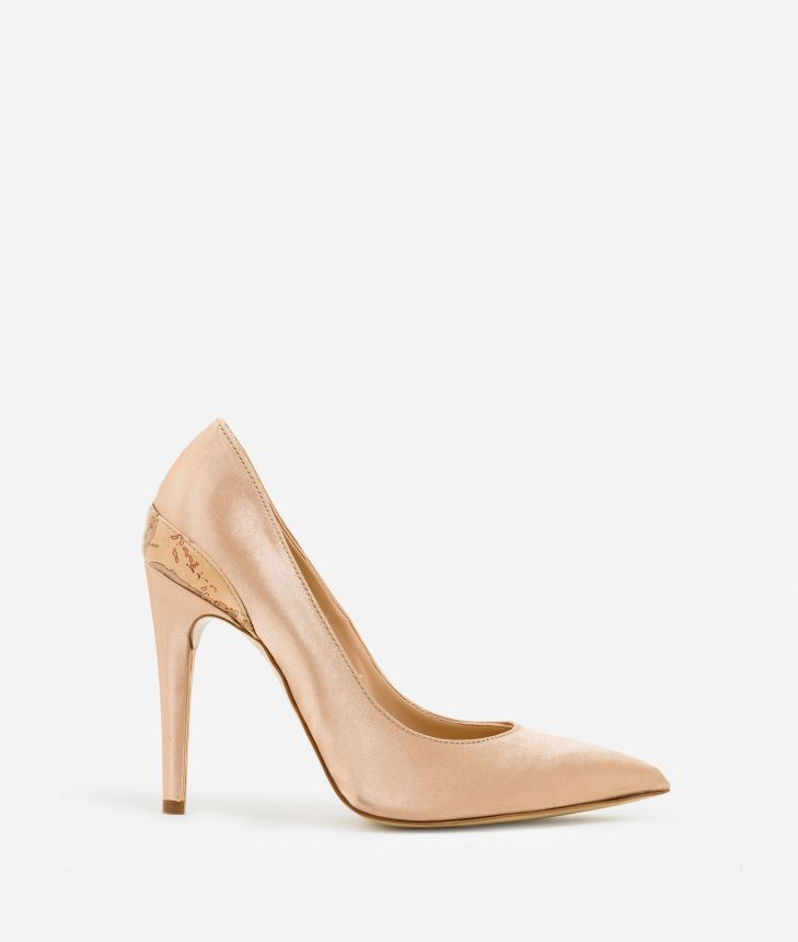 Pumps in raso Nude,front
