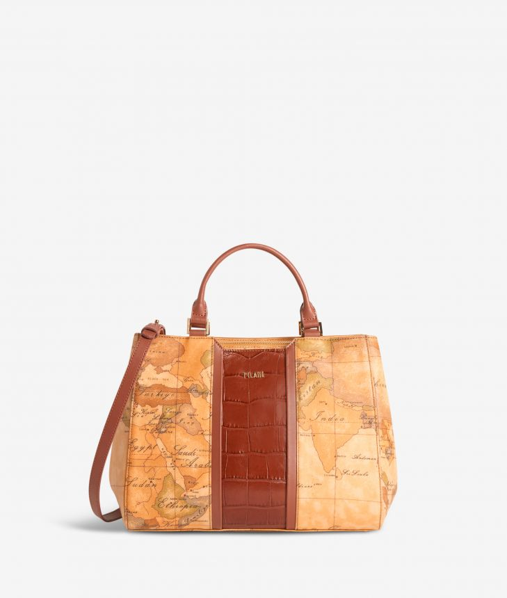 Geo Brilliant handbag in Geo Classic fabric and leather terracotta brown,front