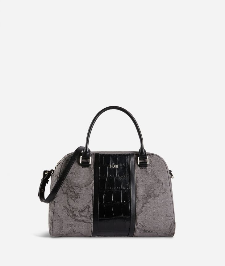 Geo Dark Brilliant satchel bag in Geo Dark fabric and leather dark grey,front