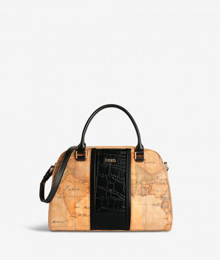 Geo Brilliant satchel bag in Geo Classic fabric and leather black,front