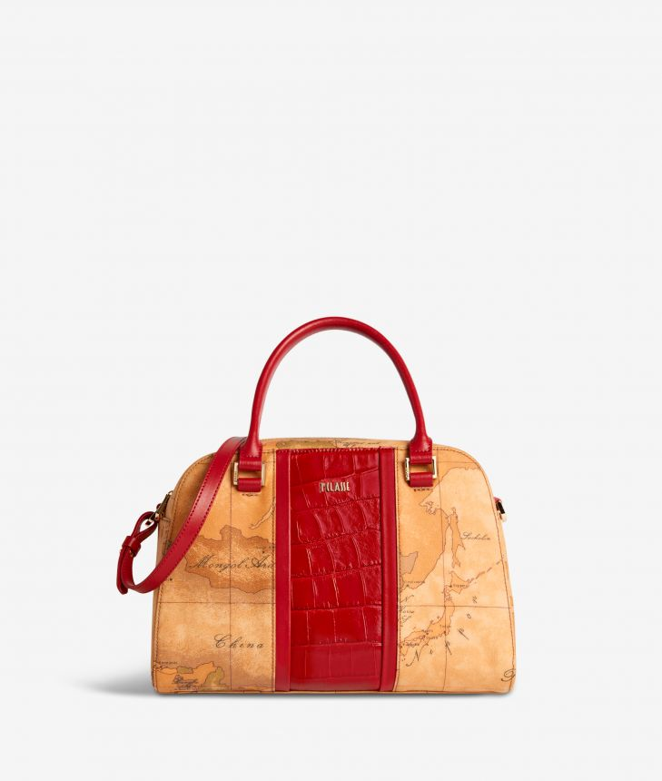 Geo Brilliant satchel bag in Geo Classic fabric and leather scarlet red,front