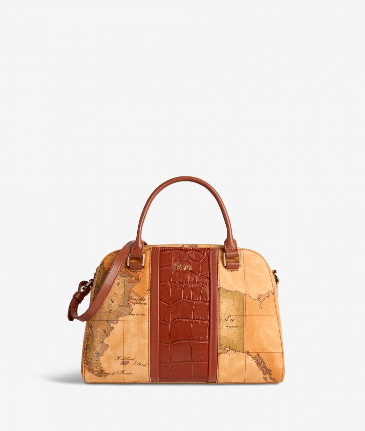 Geo Brilliant satchel bag in Geo Classic fabric and leather terracotta brown,front