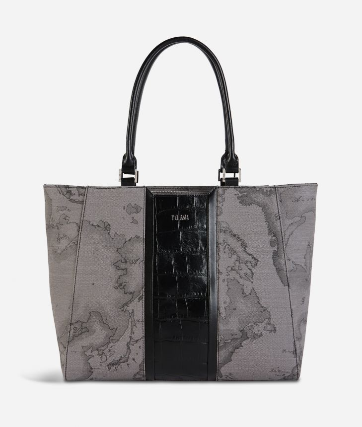 Geo Dark Brilliant shopping bag in Geo Dark fabric and leather dark grey,front