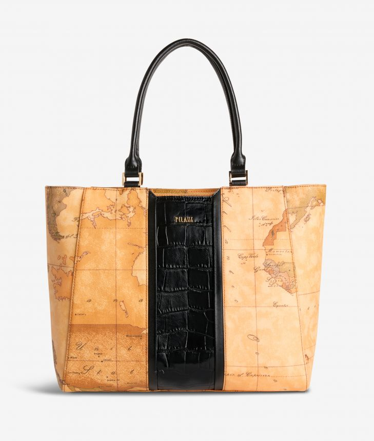 Geo Brilliant shopping bag in Geo Classic fabric and leather black,front