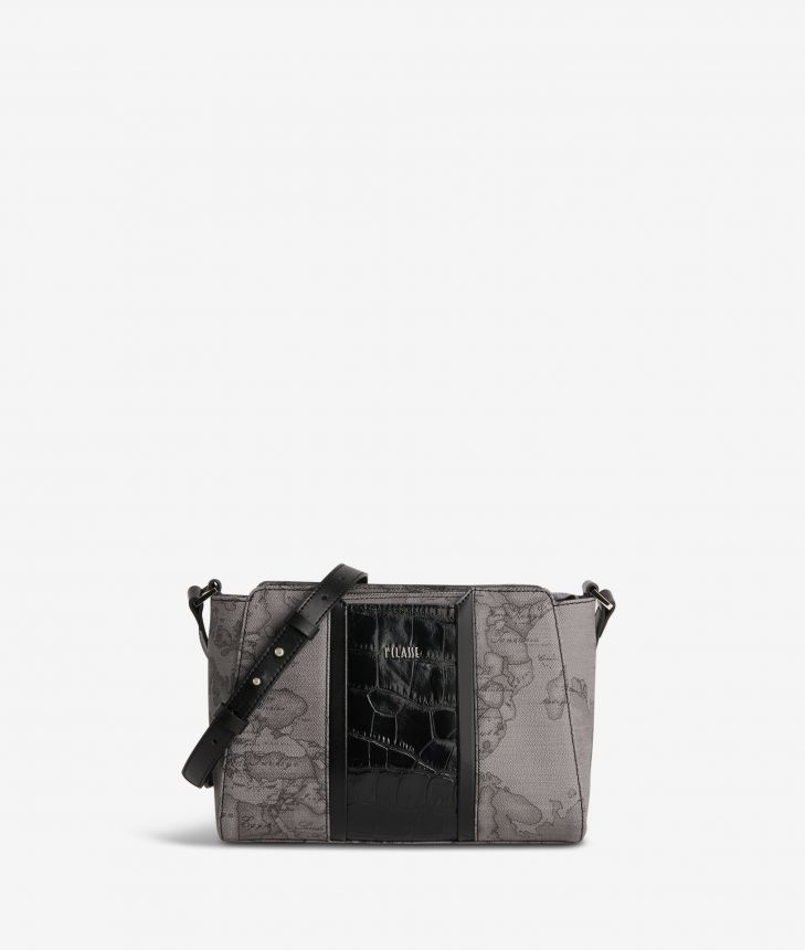 Geo Dark Brilliant shoulder bag in Geo Dark fabric and leather dark grey,front