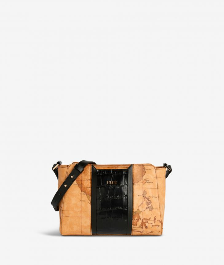 Geo Brilliant shoulder bag in Geo Classic fabric and leather black,front