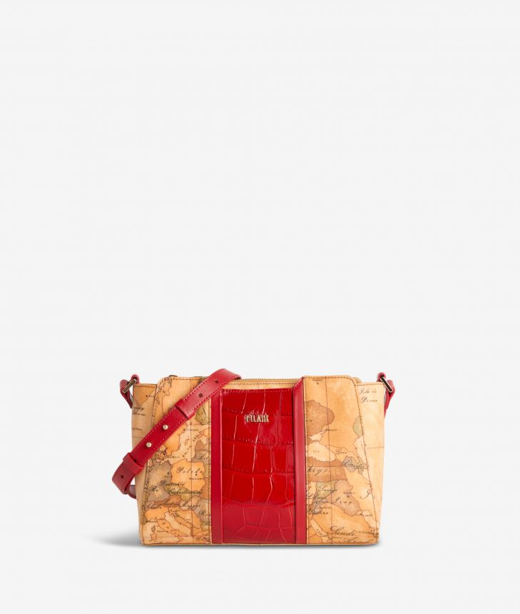 Geo Brilliant shoulder bag in Geo Classic fabric and leather scarlet red,front