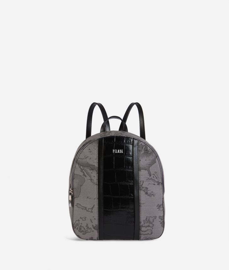 Geo Dark Brilliant backpack in Geo Dark fabric and leather dark grey,front