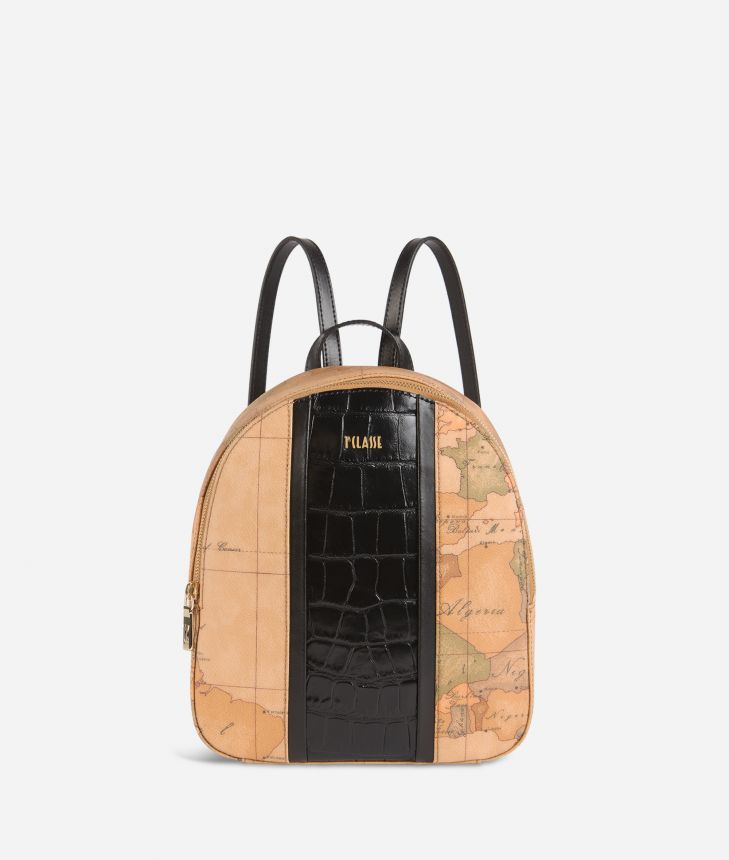 Geo Brilliant backpack in Geo Classic fabric and leather black,front
