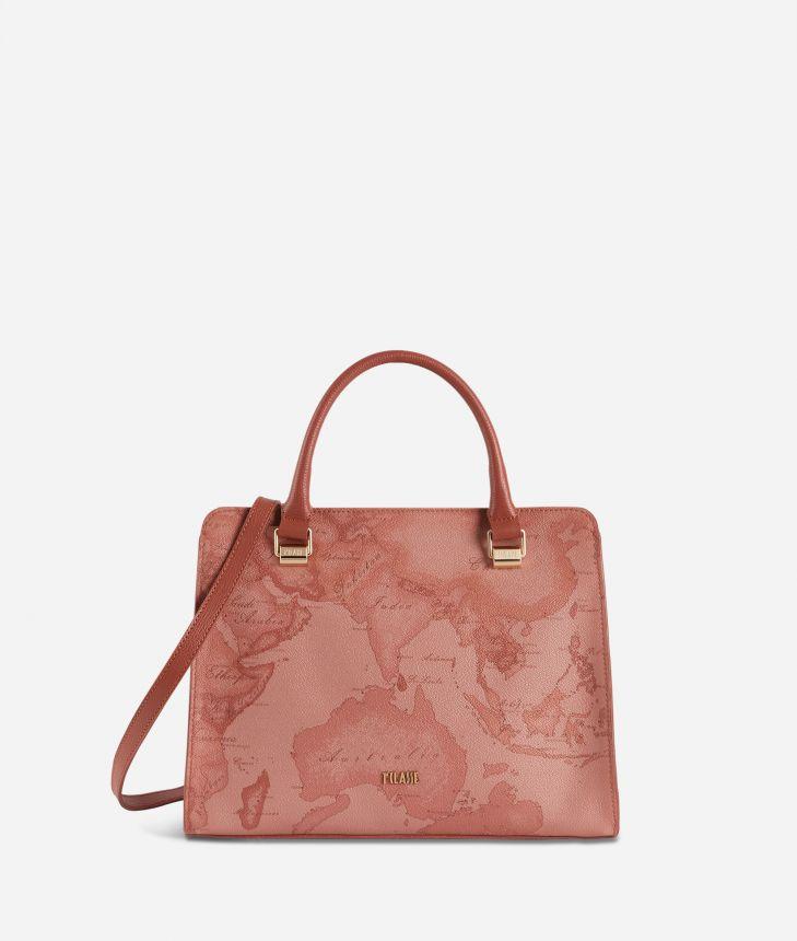 Geo Caramel handbag in Geo Terracotta fabric,front