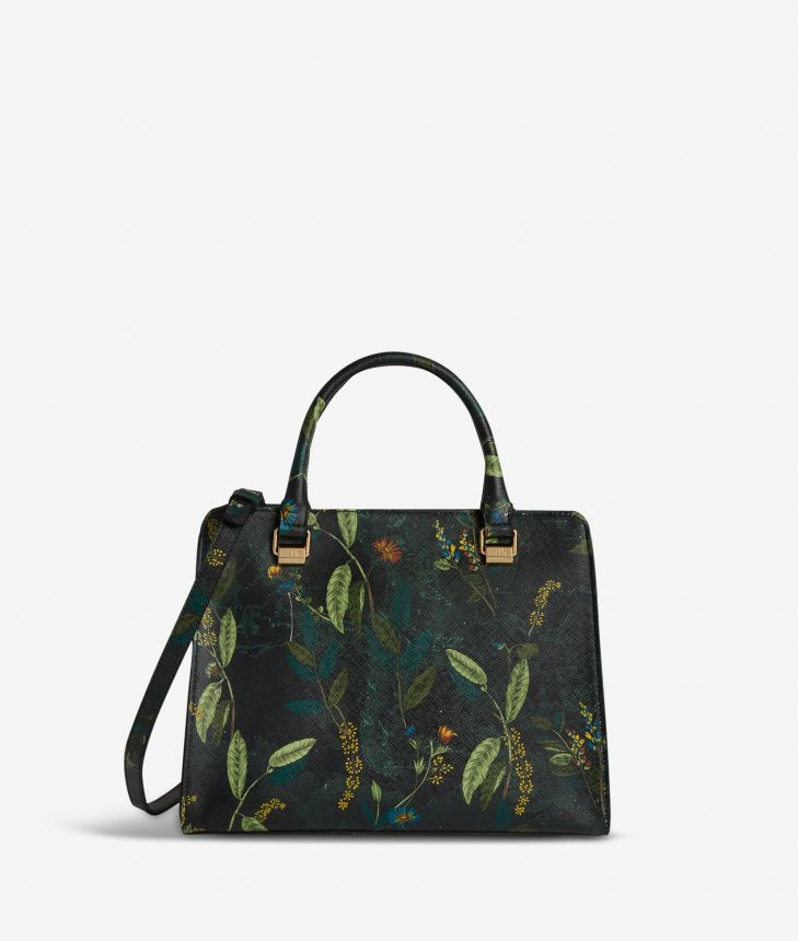 Winter Foliage handbag in saffiano embossed fabric with foliage print fir green,front
